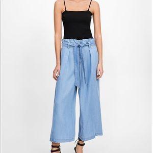 Zara paperbag chambray culottes